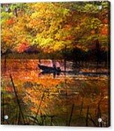 Sunrise Fisherman Moving Slowly  Acrylic Print