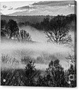 Sunrise Fog Black And White Acrylic Print