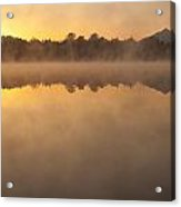 Sunrise In Fog Lake Cassidy With Mount Pilchuck And Reflections  Acrylic Print