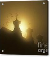 Sunrise In Fog With Old Barn And Steeples With Weather Vanes Acrylic Print