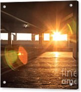 Sunrise In Garage Interior Structure Acrylic Print