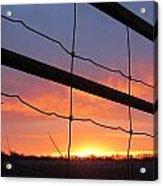 Sunrise On Fence Acrylic Print