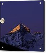 Sunrise On Piz Julier Switzerland With Moon Acrylic Print