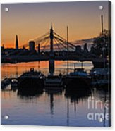 Sunrise On The Thames Acrylic Print by Donald Davis