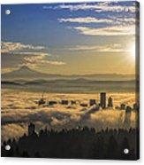 Sunrise Over Foggy Portland Acrylic Print