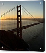 Sunrise Over Golden Gate Bridge And San Francisco Bay Acrylic Print