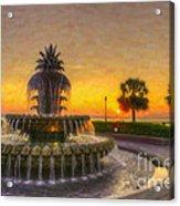 Sunrise Over Pinapple Fountain Acrylic Print