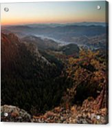 Sunrise Over The Town Of Smolyan Acrylic Print
