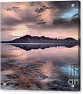 Sunrise Reflection At Salt Flats Acrylic Print