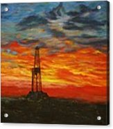Sunrise Rig Acrylic Print by Karen  Peterson