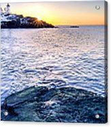 Sunrise Starburst Over Nubble Lighthouse  Acrylic Print by Thomas Schoeller