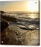 Sunrise Waves On The Rocks By Kaye Menner Acrylic Print