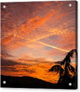 Sunrise With Orange And Red Clouds In The Sky Acrylic Print