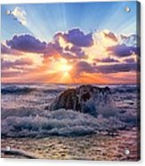 Sun's Rays By The Old Coral. Acrylic Print