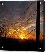Sunset Along The Fence Yellow Red Orange Fine Art Photography Print  Acrylic Print