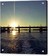Sunset And Bridge Acrylic Print
