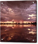 Sunset And Clouds Over Waterhole Acrylic Print