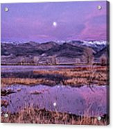 Sunset And Moonrise At Farmers Pond Acrylic Print by Cat Connor