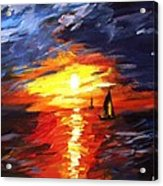 Sunset And Sails Acrylic Print