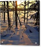 Sunset And Snow Acrylic Print