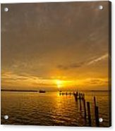 Sunset At A Weathered Pier At Port Charlotte Harbor Near Punta  Acrylic Print by Fizzy Image