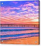 Sunset At Cayucos Pier Acrylic Print