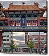 Sunset At Chinatown Gate In Seattle Washington Acrylic Print