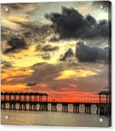 Sunset At Clam Creek Fishing Pier Acrylic Print