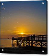Sunset At Crystal Beach Pier Acrylic Print