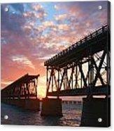 Sunset At Flagler Bridge Acrylic Print