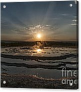 Sunset At Great Fountain Geyser - Yellowstone Acrylic Print