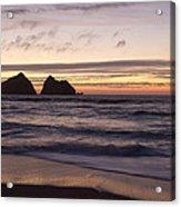Sunset At Holywell Bay Acrylic Print