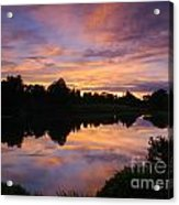 Sunset At Japanese Garden Acrylic Print