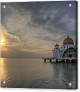 Sunset At Malacca Straits Mosque Acrylic Print