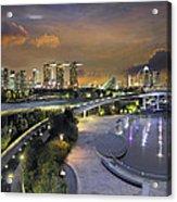 Sunset At Marina Barrage Acrylic Print