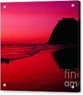 Sunset At Neskowin Beach- Proposal Rock Acrylic Print