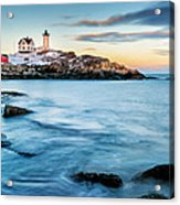 Sunset At Nubble Light-cape Neddick Maine Acrylic Print by Thomas Schoeller