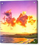Sunset At Oneloa Beach Maui Acrylic Print