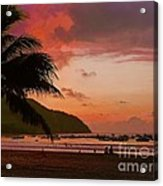 Sunset At The Beach - Puerto Lopez - Ecuador Acrylic Print