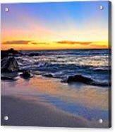Sunset At The Beach Acrylic Print by Sally Nevin
