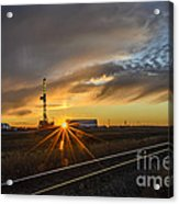 Sunset At The Edge Of Oil Rigs Acrylic Print