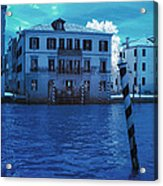 Sunset At The Hotel Canal Grande Venice Italy Near Infrared Blue Acrylic Print