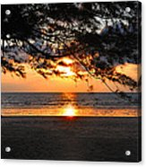 Sunset At Tropical Beach. Acrylic Print