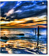 Sunset At Washed Out Pier Acrylic Print