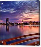 Sunset Balcony Of The West Palm Beach Skyline Acrylic Print by Debra and Dave Vanderlaan