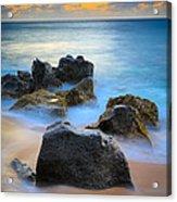 Sunset Beach Rocks Acrylic Print by Inge Johnsson