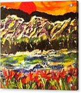 Sunset Behind Dark Hills Acrylic Print