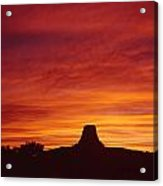Sunset Behind Devil's Tower Acrylic Print