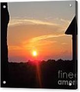 Sunset Between Tree And Barn Acrylic Print