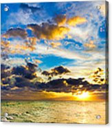 Sunset Cloudscape Silver Lining-gold Blue Pensacola Sky Acrylic Print